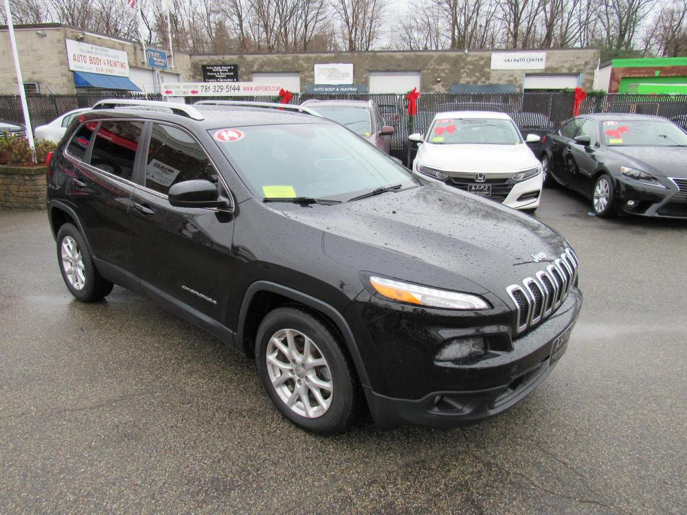 2014 BLACK /Gray Jeep Cherokee Latitude FWD (1C4PJLCB7EW) with an 2.4L L4 DOHC 16V engine, 9-Speed Automatic transmission, located at 215 Milton St, Dedham, MA, 02026, (781) 329-5144, 42.241905, -71.157295 - Photo #0